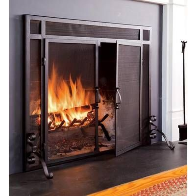 Single Panel Steel Fireplace Screen Basement In 2019 Fireplace Doors Custom Fireplace Fireplace Cover