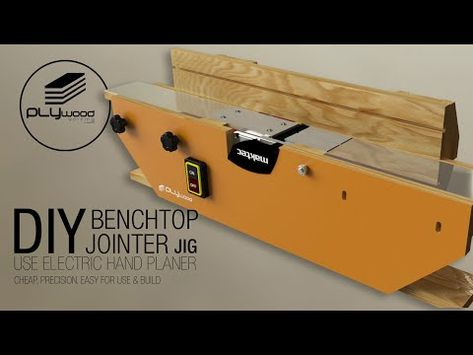 DIY benchtop jointer jig - making jointer use electric hand planer