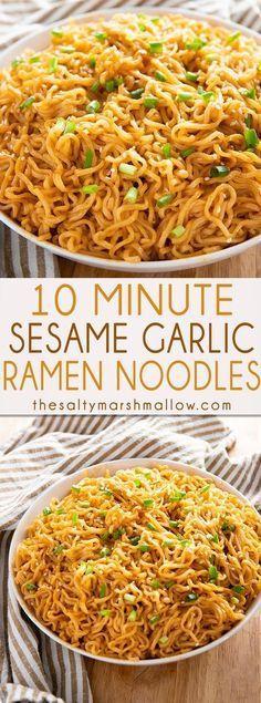 Sesame Garlic Ramen Noodles - The Salty Marshmallow
