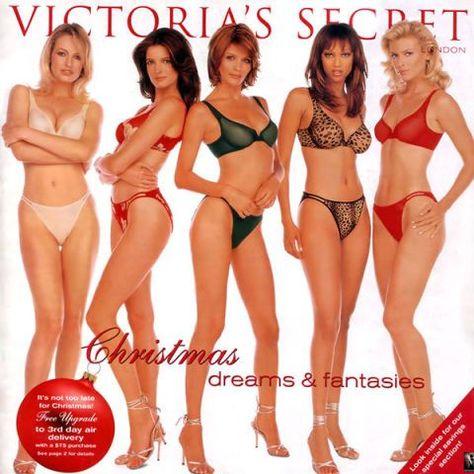 Victoria's Secret Christmas 1997 catalog: Karen Mulder, Stephanie Seymour, Helena Christensen, Tyra Banks, and Daniela Pestova.