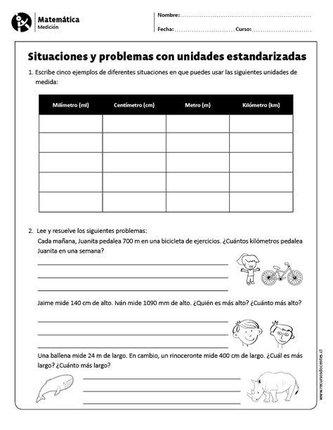 Matematica Medicion 5 Y 6 Basico Matematicas Juegos De Matematicas Docencia