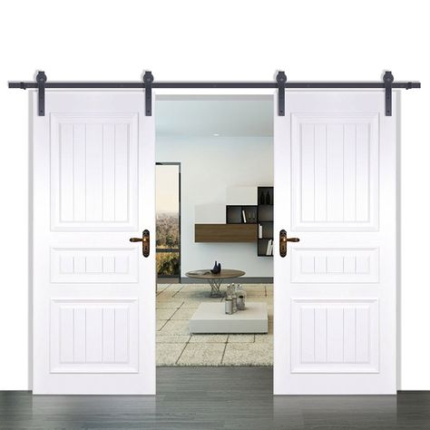 Happybuy Barn Door Hardware Iron Sliding Door Hardware 12ft Modern Style Sliding Bifold Barn Doors Double Sliding Barn Doors Sliding Barn Door Track