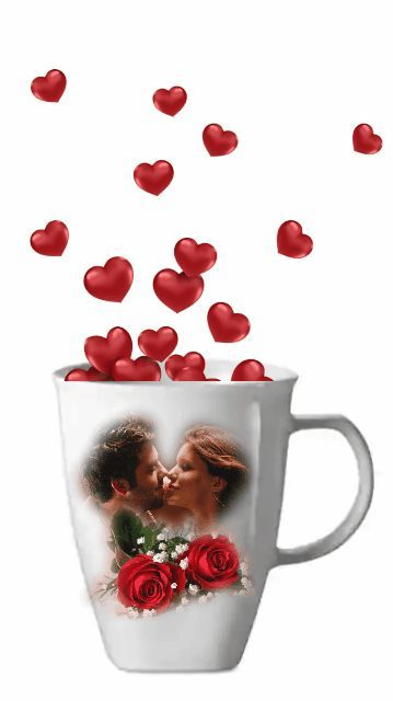 Cup of love Good Morning Love, Valentines Flowers, Gif Pictures, Beautiful Flowers, Birth, Romantic Love Pictures, Friendship Love, Coffee Time, Romanticism