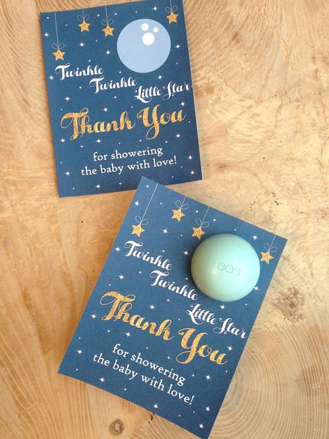 Twinkle, twinkle little star baby shower favor printable, EOS lip balm cards, thank you, moon, stars