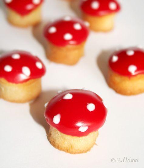 Mini-Muffins als Fliegenpilze dekorieren   kullaloo