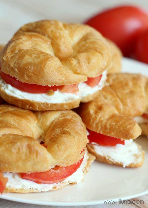 Cream Cheese Croissant Sandwiches { lilluna.com }