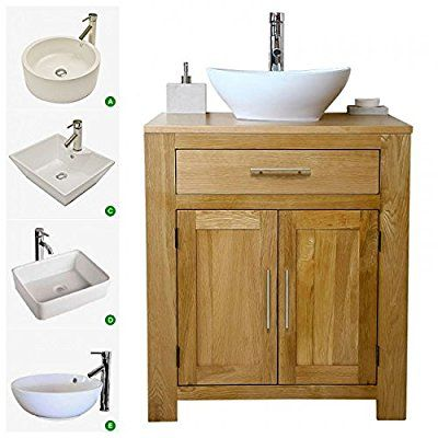 Free Standing Solid Oak Vanity Unit With Basin C Amazon Co Uk Kitchen Home Oak Vanity Unit Basin Vanity Unit Sink Vanity Unit