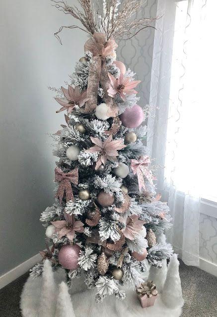 Blush Pink Vintage Inspired Tree Michaels Dream Tree Challenge 2016 Kara S Party Ideas Rose Gold Christmas Vintage Inspired Christmas Tree Pink Christmas