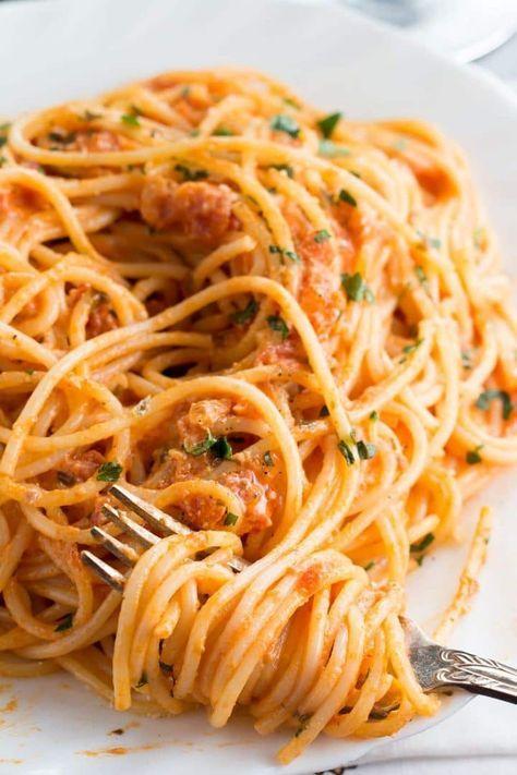 Spaghetti With Skinny Tomato Cream Sauce Recipe Food Recipes