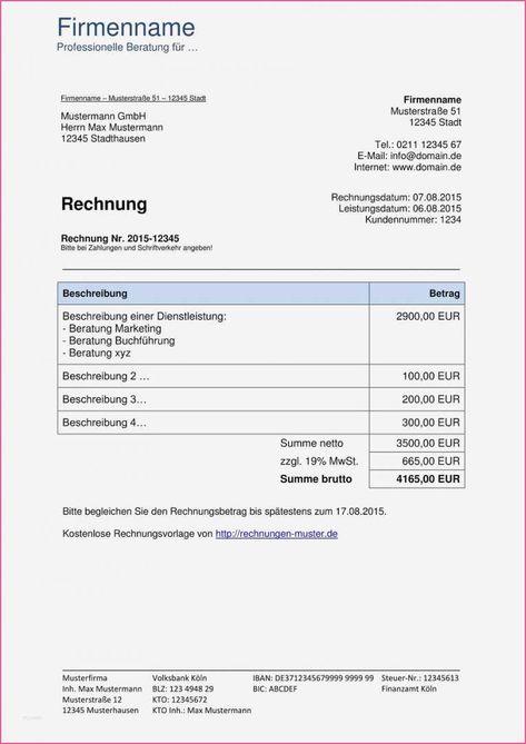 Kumulierte Abschlagsrechnung Muster Rechnung Vorlage Rechnungsvorlage Vorlagen