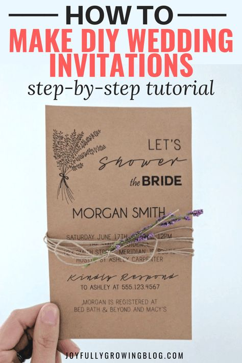 Use this DIY wedding invitation tutorial to create custom bridal shower and wedding invites for cheap! This easy wedding invitation tutorial uses Microsoft Publisher and is SUPER easy to follow (with screenshots!). Use the exact free fonts and make your wedding invitations on a budget to save money! #joyfullygrowingblog #weddinginvties #bridalshower #DIYwedding