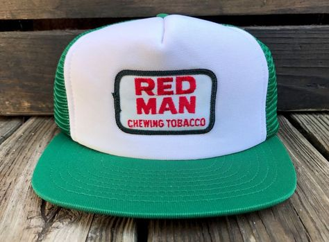 a60fc7db Vintage RED MAN Chewing Tobacco 80s Green Mesh Snapback Patch Trucker Hat  #Springfoot #Trucker #Everyday