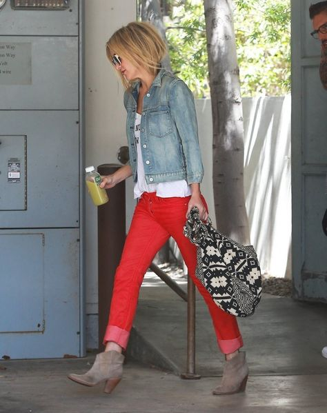Kate Hudson in a Denim Jacket and Etoile Isabel Marant Red Cords