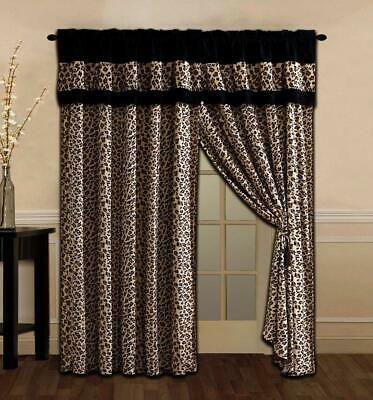 4 Pc Black Brown Tan Leopard Window Curtains Panels Drapes Valance