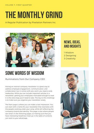 Yellow Photo Employee Newsletter Templates By Canva Graphic
