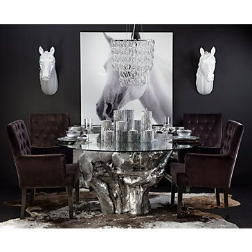Equine Elements Like Our Fauxidermy Combined With Ayi Faux Cowhide Rug Makes For A Rustic Yet Chic Dining Room
