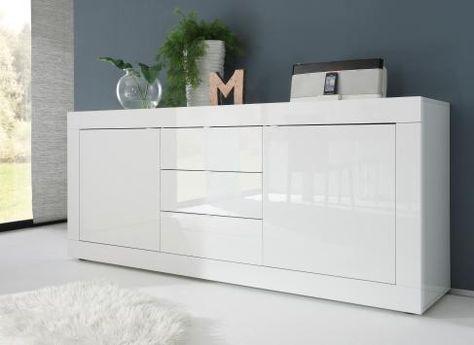 Sideboard Weiss Lack Woody 12 00913 Modern Wohnzimmer Kommode