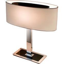 Bover Mei Oval Tischleuchte Chrom Glanzend Schirm Aus Cremefarbenem Streifenband In 2020 Diy Lampenschirm Lampenschirm Gestell Und Lampenschirm Glas