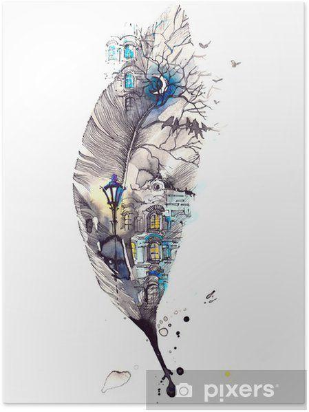 Plakat night city • Pixers® - Żyjemy by zmieniać