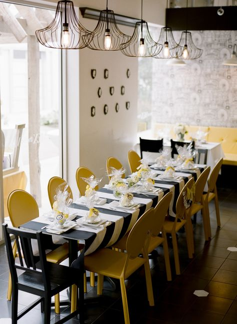 A Gorgeous Yellow & Black Dinner Party!  Read more - http://www.stylemepretty.com/living/2013/09/13/yellow-black-dinner-party/