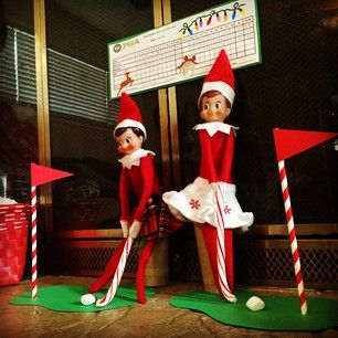 Playing golf with candy canes, marshmallows and a felt putting green