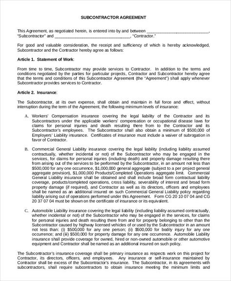 Subcontractor Agreement With Images Subcontractors Agreement