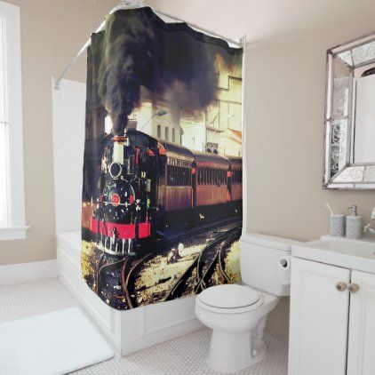 Train Shower Curtain Zazzle Com In 2020 Shower Curtain Shower