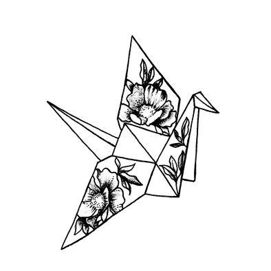 30 Ideas Origami Crane Tattoo Tatuajes For 2019 Tattoo Sketches, Tattoo Drawings, Art Sketches, Art Drawings, Kunst Tattoos, Body Art Tattoos, Tatoos, Origami Ball, Temp Tattoo