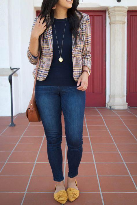 Tweed Blazer + Cognac Cross Body Bag + Mustard Flats + Skinnies Source by audreyPMT Outfits jeans