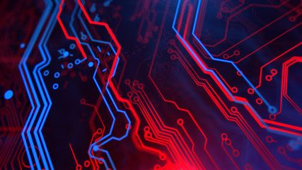 Blue Green Neon Background With Digital Integrated Network Technology Printed Circuit Board Technol Technology Wallpaper 4k Wallpapers For Pc Blue Backdrops