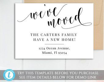 Digital Moving Card We Ve Moved Card Template Minimal Etsy Moving Cards New Address Announcement Weve Moved Announcements