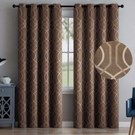 2 Blackout Room Darkening Window Curtains 96 Length Brown Embossed Trellis Grommet Panel Pair Drapes Walmart Com Curtains Cool Curtains Brown Curtains