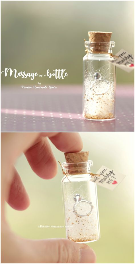 will you marry me?Tiny message in a bottle,Miniatures,Personalised Gift,Love Card,Valentine Card,Gift for her/him,Girlfriend gift and message card ideas #weddingring #ring #miniatures #justmarried #marriage #handmade #custom #unique #cute #art #gold #messagecard #homedecor #deskdecor #glitter #lovecard #sweet #greetingscard #paper #seasonalcard #partygift #personalizedgift #Longdistancegift #birthdaycard #kikuikestudio #tiny #Anniversary