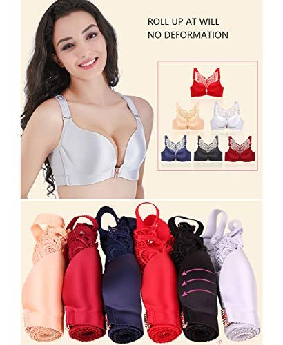 2d7333a27c2 Women Front Closure Plus Size Bra Butterfly Wirefree Minimizer Push Up  Everyday Bras