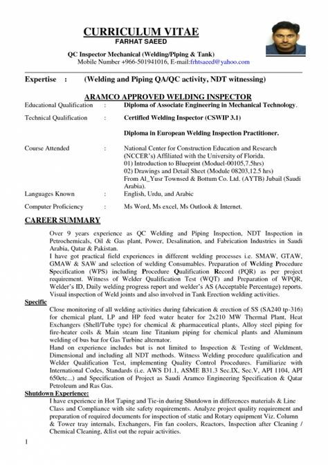Welding Inspector Resume RESUMES DESIGN resume of welding - occupational therapist resume