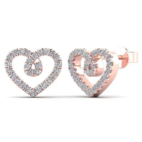 Simple and stunning, these diamond heart stud earrings are a destined to be adored. Crafted in 10K rose gold, each lovely earring features a heart-shaped outline with shimmering diamonds.