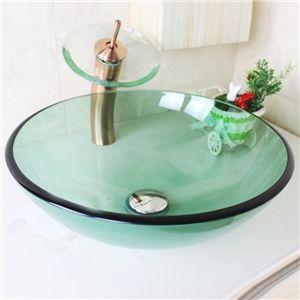 Waschbecken rund glas  Modern Waschbecken Dunkelgrün Rund Glas Aufsatz Waschschale mit ...
