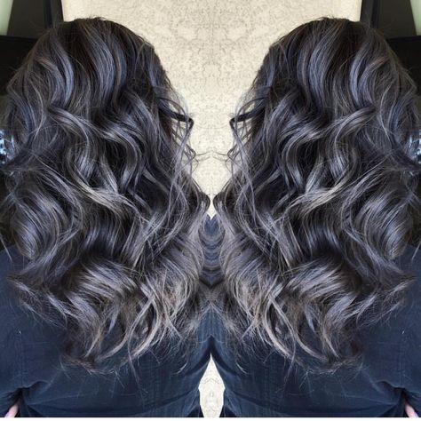 """Hot on Beauty on Instagram: """"Beautiful silver gray highlights over smoky darkest brunette hair by @sydniiee She has such a talent for smoky hair color designs as well as vibrant a and pastels. #hotonbeauty"""""""