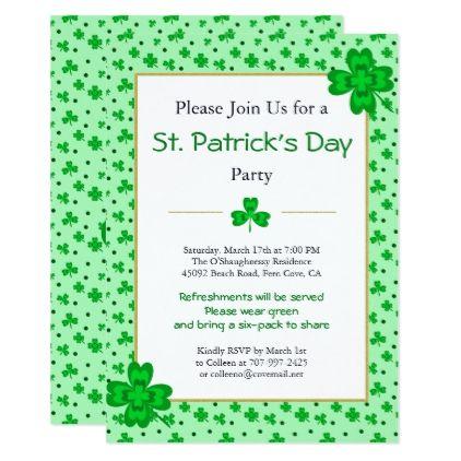 Patrick/'s Day Shamrock Party Invitations Invites Personalized Custom St