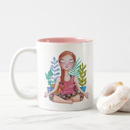 #Meditating Girl With Plants Two-Tone Coffee Mug - #drinkware #cool #special