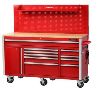 Husky Heavy Duty 61 In W Deep 10 Drawer 1 Door Tool Chest Mobile Workbench In Matte Black With Flip Up Pegboard H61mwc10pb The Home Depot Tool Chest Mobile Workbench Workbench