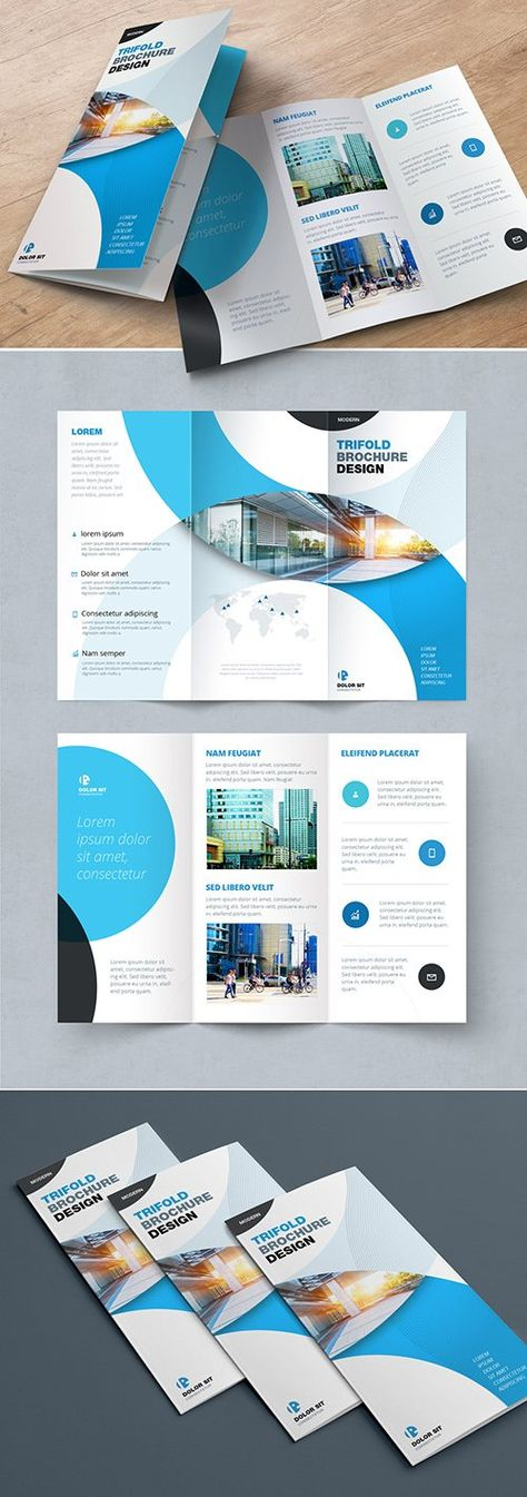 Blue Trifold Brochure Layout with Circles - Brochure Templates
