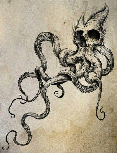 Octopus skull sketch