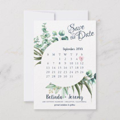 Rustic Greenery Eucalyptus Save The Date Calendar Zazzle Com Destination Wedding Save The Dates Save The Date Wedding Invitations Stationery