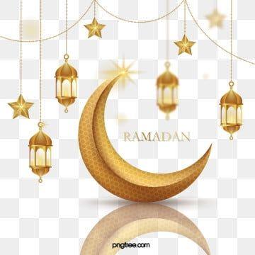 Golden Ramadan Three Dimensional Texture Hanging Stars Moon Chain Reflection Border Png And Vector Pernikahan Bunga Latar Belakang Pernikahan Bintang