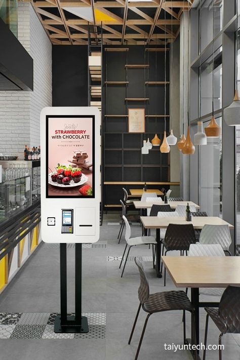 Floor standing 27 inch touch screen self order payment self-service consumer kiosks for restaurant