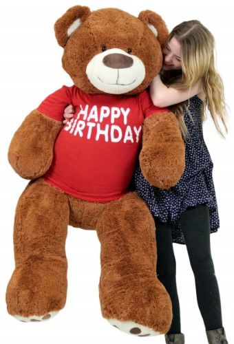 Red Teddy Bear 5 Feet, Happy Birthday 5 Foot Big Plush Giant Teddy Bear Soft Cinnamon Color Wears Tshirt In 2020 Soft Teddy Bear Giant Teddy Bear Teddy Bear