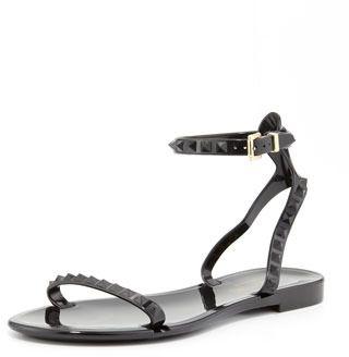 a859cb947137 Valentino Rockstud Ankle-Wrap Jelly Sandal