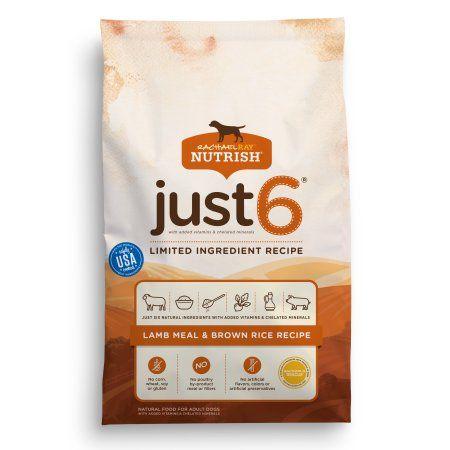 Rachael Ray Nutrish Just 6 Natural Dry Dog Food Lamb Meal Brown