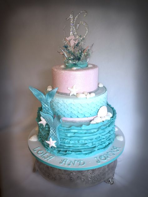 Under The Sea Sweet 16 This is a under the sea themed sweet 16 cake for twin girls.